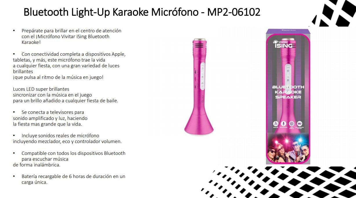MICROFONO BLUETOOTH KARAOKE VIVITAR ISING MP2 6