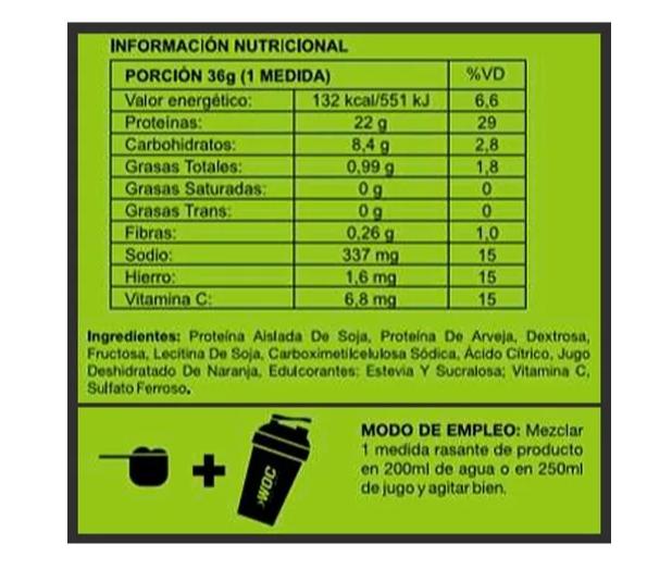 Proteína Vegana Woc Sabor Naranja 750gr 2